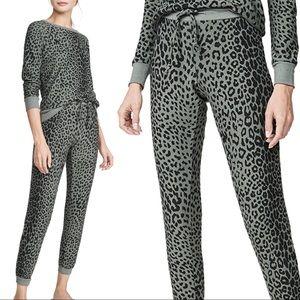 Chaser Cozy Rib Knit Animal Print Sage Sweatpants